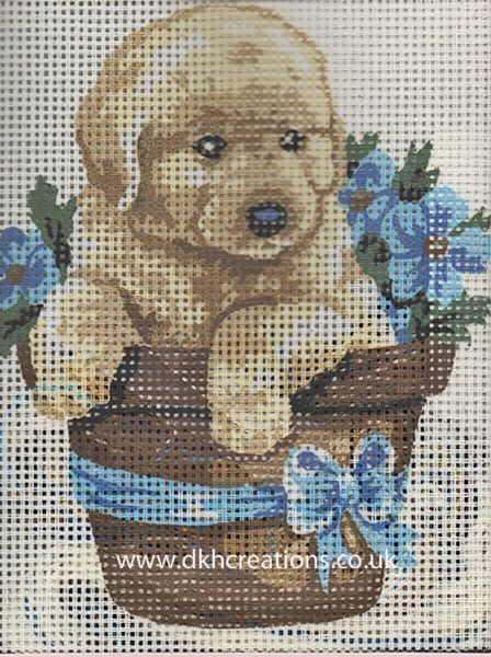 Puppy In Flowerpot Tapestry Kit